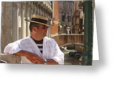 Gondolier In Venice Waiting For A Fare Greeting Card