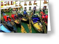Gondoliers In Venice Greeting Card