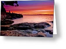 Gone Fishing At Sunset Greeting Card