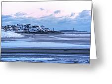 Good Harbor Beach And Thacher Island Covered In Snow Gloucester Ma Greeting Card
