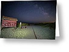 Good Harbor Beach Sign Under The Stars And Milky Way Greeting Card