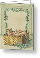 Good Luck Basket With Pigs Greeting Card