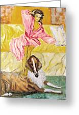 Good Morning Dogie Greeting Card by Mimi Eskenazi