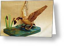 Goose Landing Greeting Card by Russell Ellingsworth