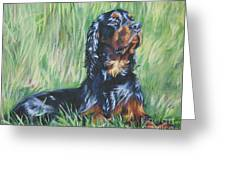 Gordon Setter In The Grass Greeting Card