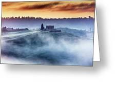 Gorgeous Tuscany Landcape At Sunrise Greeting Card