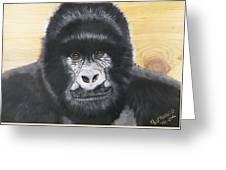 Gorilla On Wood Greeting Card