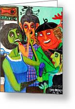 Gossips At The Greengrocer's Greeting Card