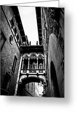 Gothic Bridge In The Gothic Quarter Of Barcelona Greeting Card