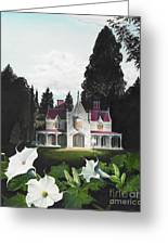 Gothic Country House Detail From Night Bridge Greeting Card