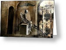 Gothic Surreal Angel With Gargoyles And Ravens  Greeting Card by Kathy Fornal