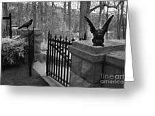 Surreal Gothic Gargoyle With Raven Black And White Gothic Gargoyles Gate Scene Greeting Card