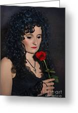 Gothic Woman With Rose Greeting Card