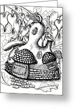 Gourd Fairy House With Snail And Preying Mantis Greeting Card