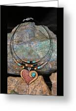 Gourd Heart With Turquoise #h92 Greeting Card