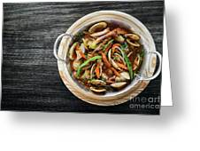 Gourmet Clam And Vegetable Seafood Stew In Spicy Tomato Sauce Greeting Card
