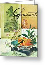 Gourmet Cover Featuring A Bowl Of Peaches Greeting Card