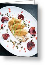 Gourmet Fish Fillet With Chickpea Curry Puree Meal Greeting Card