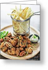 Gourmet Fried Octopus Calamari Style Set Meal With Fries Greeting Card
