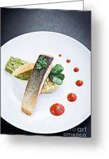 Gourmet Salmon Fish  Fillet With Rice And Guacamole Meal Greeting Card