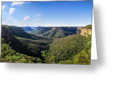 Govetts Leap Lookout Panorama, Australia Greeting Card