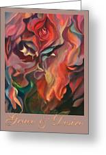 Grace And Desire - Floral Abstract With Border And Title Greeting Card