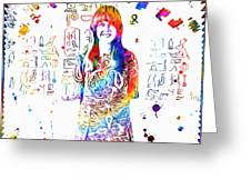 Grace Slick Jefferson Airplane Paint Splatter Greeting Card