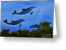 Graceful Dolphins At Play. Greeting Card