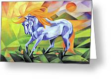 Graceful Stallion With Flaming Mane Greeting Card