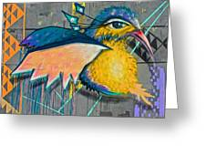 Graffiti Art Of A Colorful Bird Along Street IIn Hilly Valparaiso-chile Greeting Card