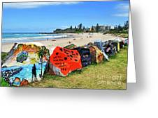 Graffiti At The Beach Greeting Card