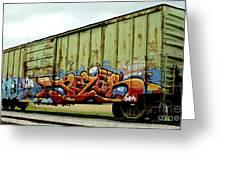 Graffiti Boxcar Greeting Card by Danielle Allard