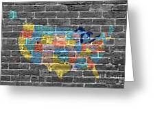 Graffiti  Map Of The United States Of America Greeting Card