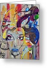 Graffiti Woman Face Greeting Card