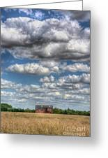 Grain Barn And Barley Field Greeting Card