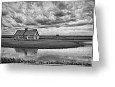 Grain Barn And Sky - Reflection Greeting Card