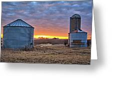 Grain Bin Sunset 2 Greeting Card