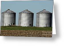 Grain Bins In A Row Greeting Card
