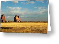 Grain Elevators Stand In A Prairie Greeting Card