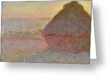 Grainstack, Sunset Greeting Card
