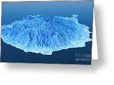 Gran Canaria Topographic Map 3d Landscape View Blue Color Greeting Card