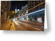 Gran Via Light Trails 1.0 Greeting Card