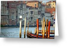 Grand Canal In Venice With Light On Pole Greeting Card