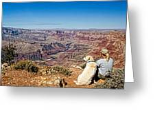 Grand Canyon Girl And Dog Greeting Card