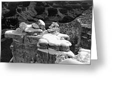 Grand Canyon Snow Black And White Photo Greeting Card