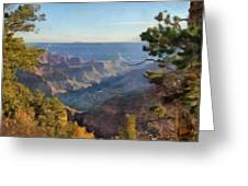 Grand Canyon View With Trees Greeting Card