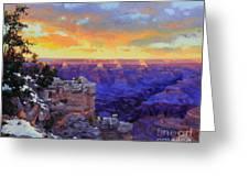 Grand Canyon Winter Sunset Greeting Card by Gary Kim