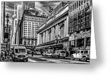 Grand Central At 42nd St - Mono Greeting Card