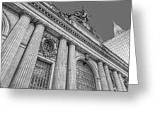 Grand Central Terminal - Chrysler Building Bw Greeting Card