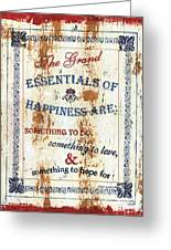 Grand Essentials Of Happiness Greeting Card